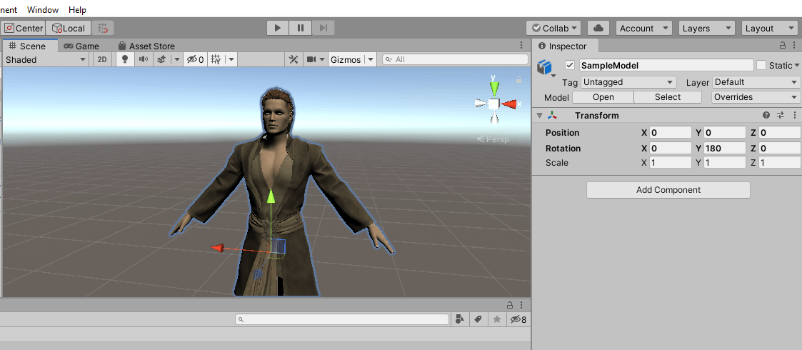 Unity character shown imported from daz3d