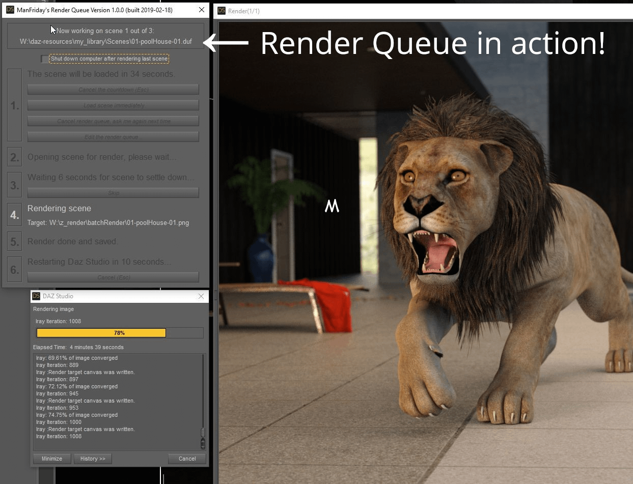 daz studio render queue add on
