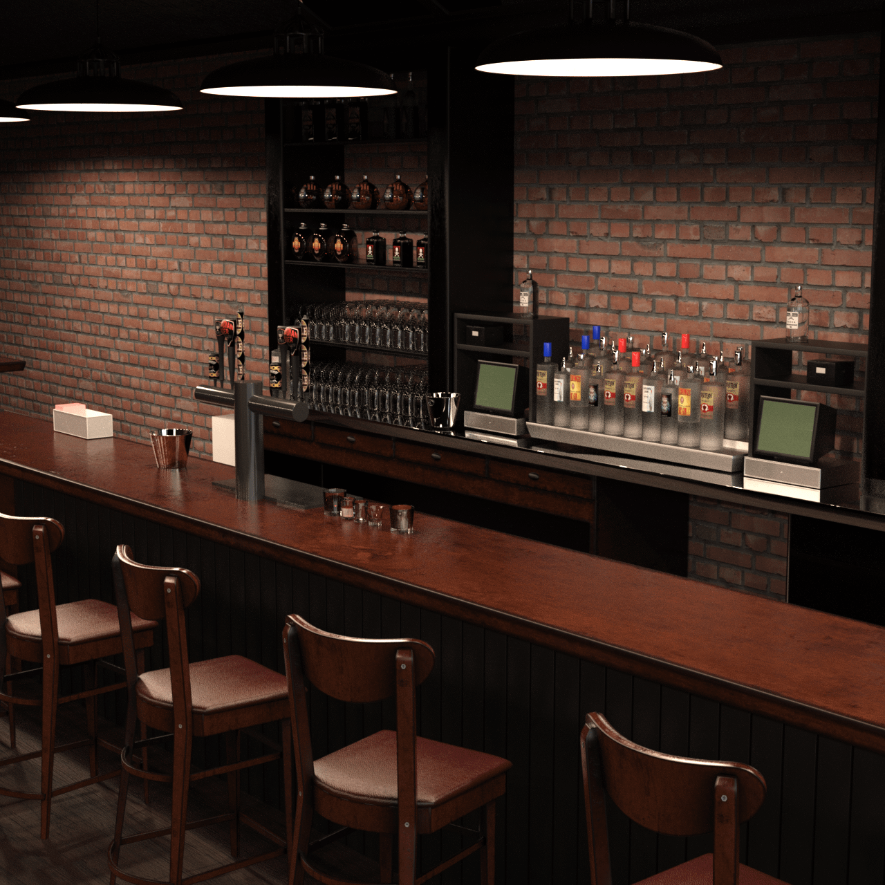 3d model of a bar counter showing multiple chairs and, glasses and drinks