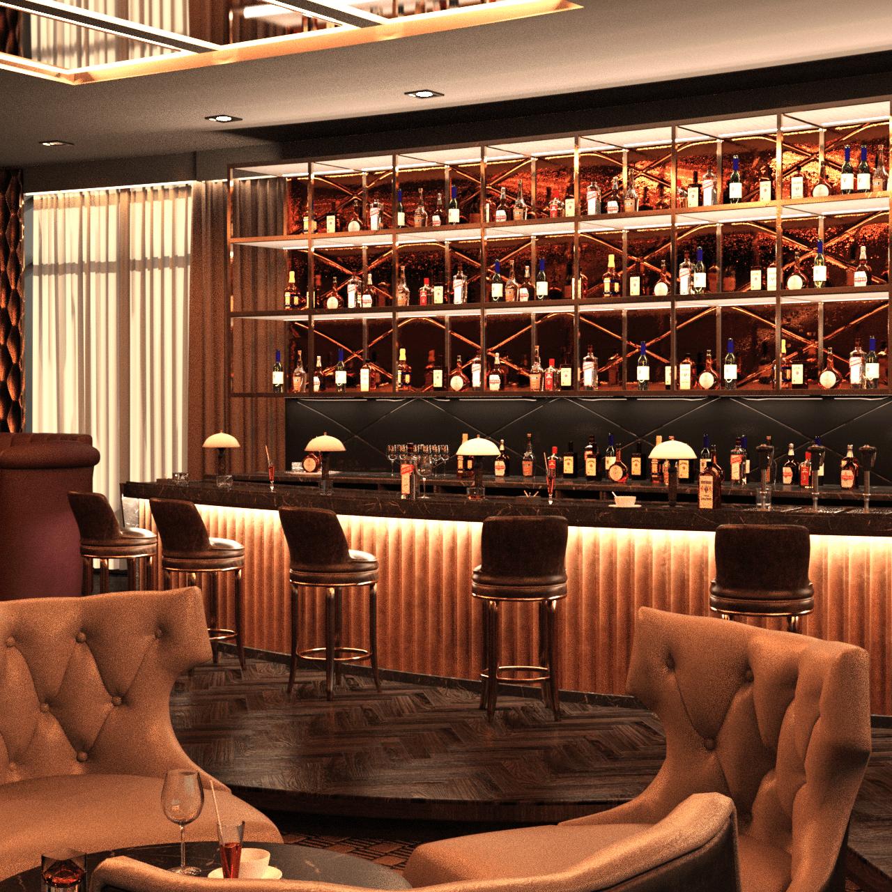 hotel bar 3d model