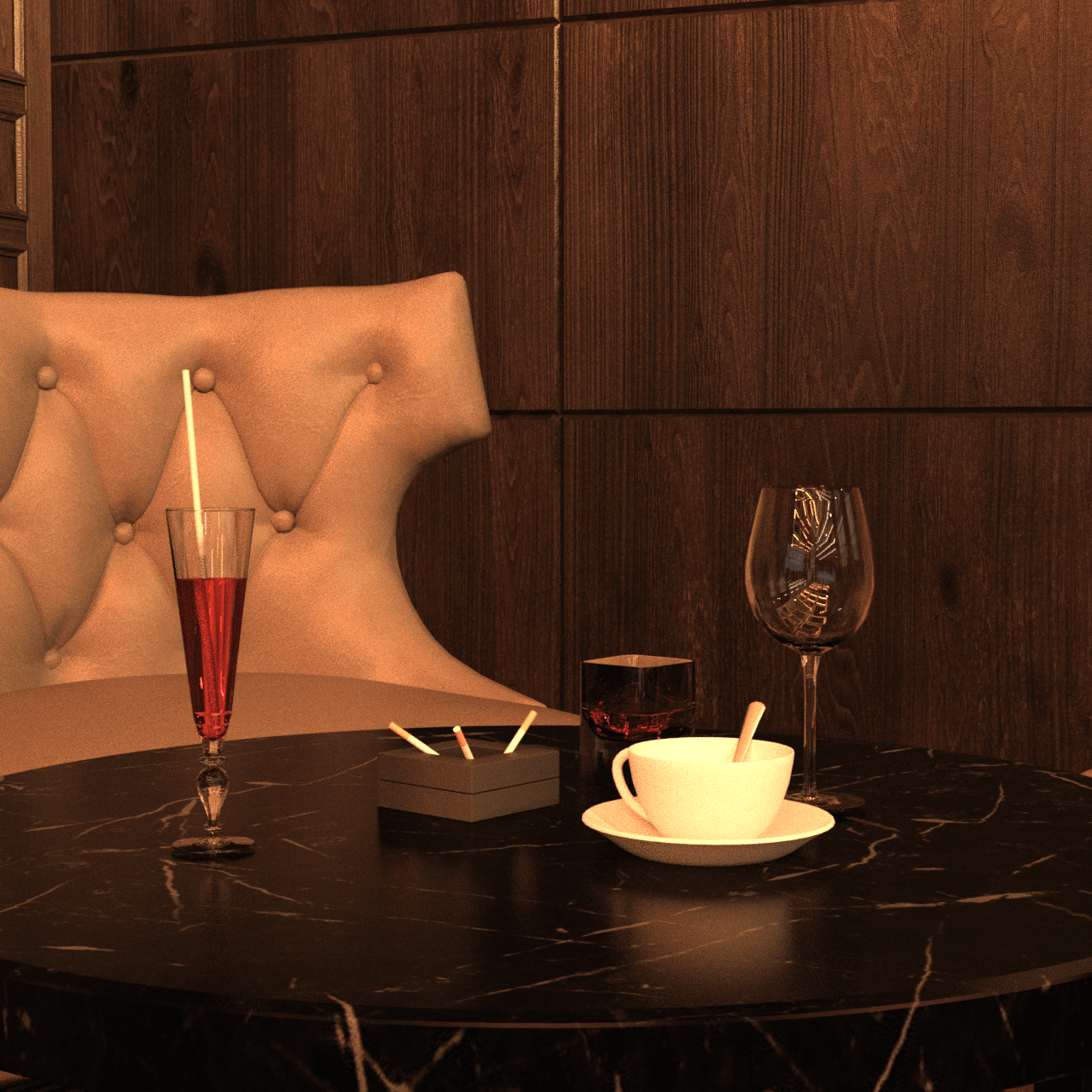 Close up of a table inside the bar showing a cocktail and other 3d models