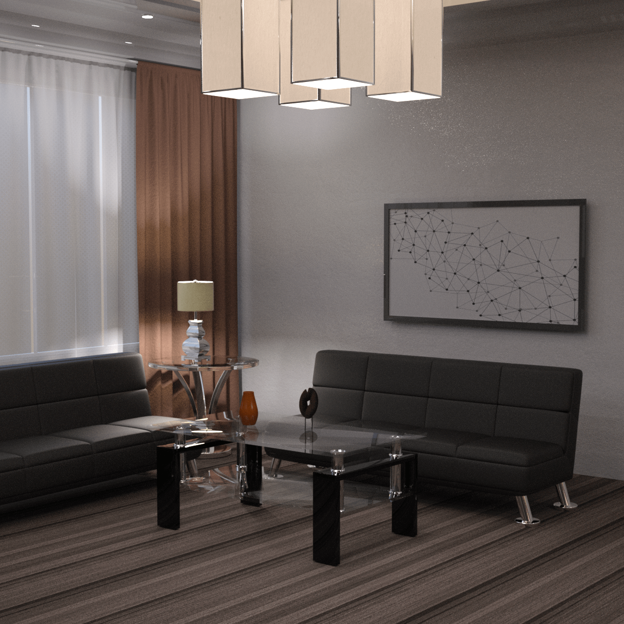 Waiting area with furniture 3d models