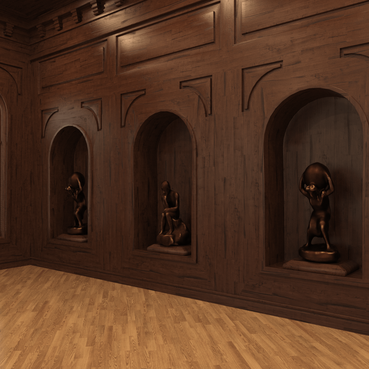 Three sculpted pieces inside the walls render.