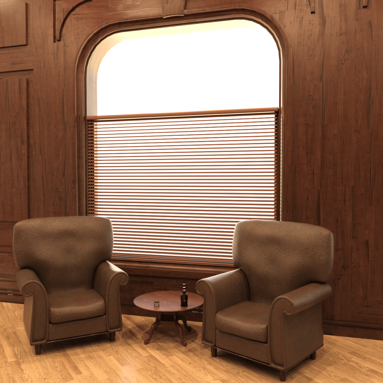 Two chairs, table and drink props rendering.