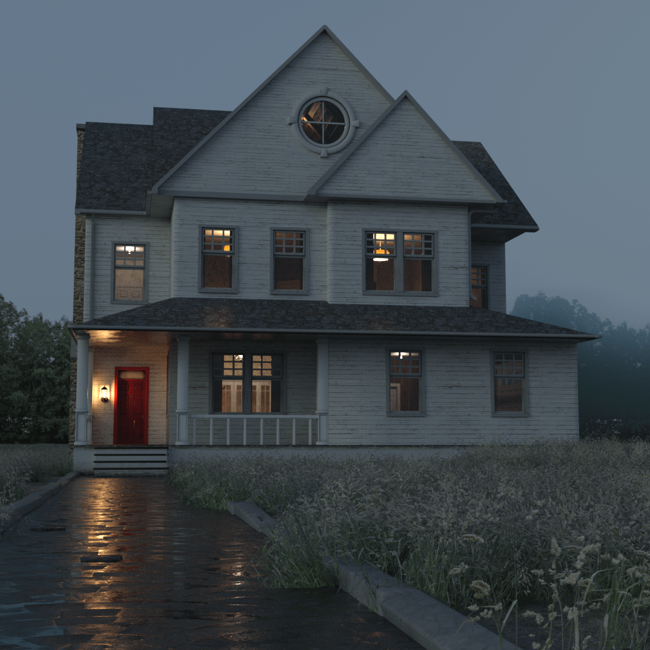 Front view of the farmhouse 3d asset