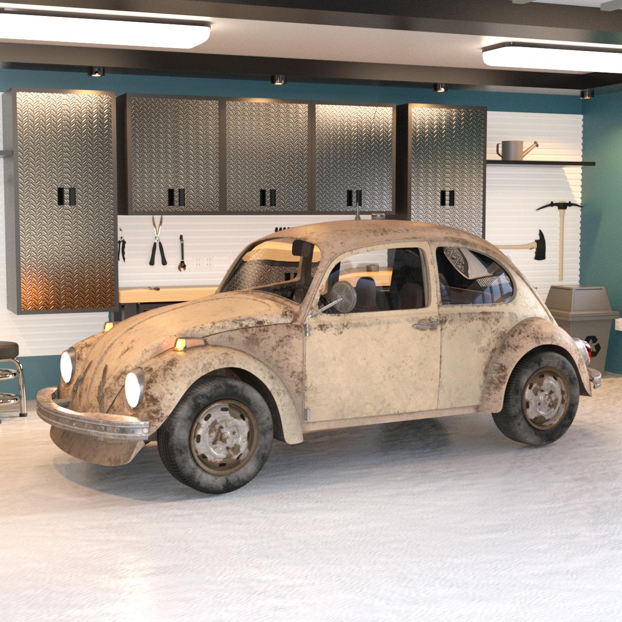 Small retro car 3d model