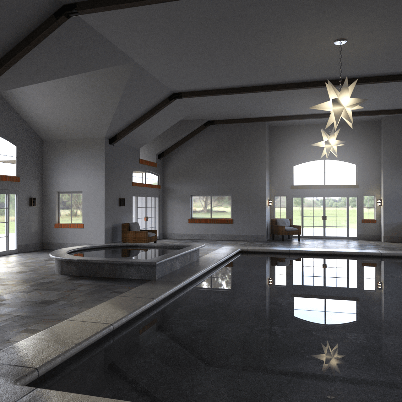Pool house 3d rendering showing a spacious swimming pool including a small Jacuzzi