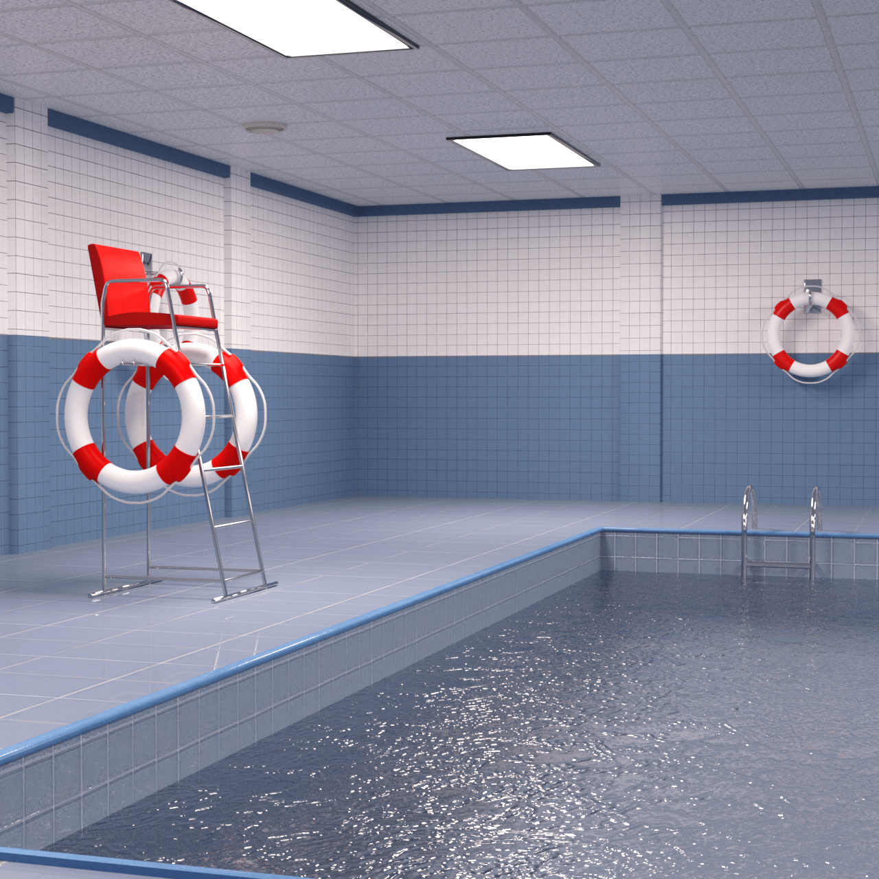 Rendering of an indoor swimming pool 3d model and lifebelt