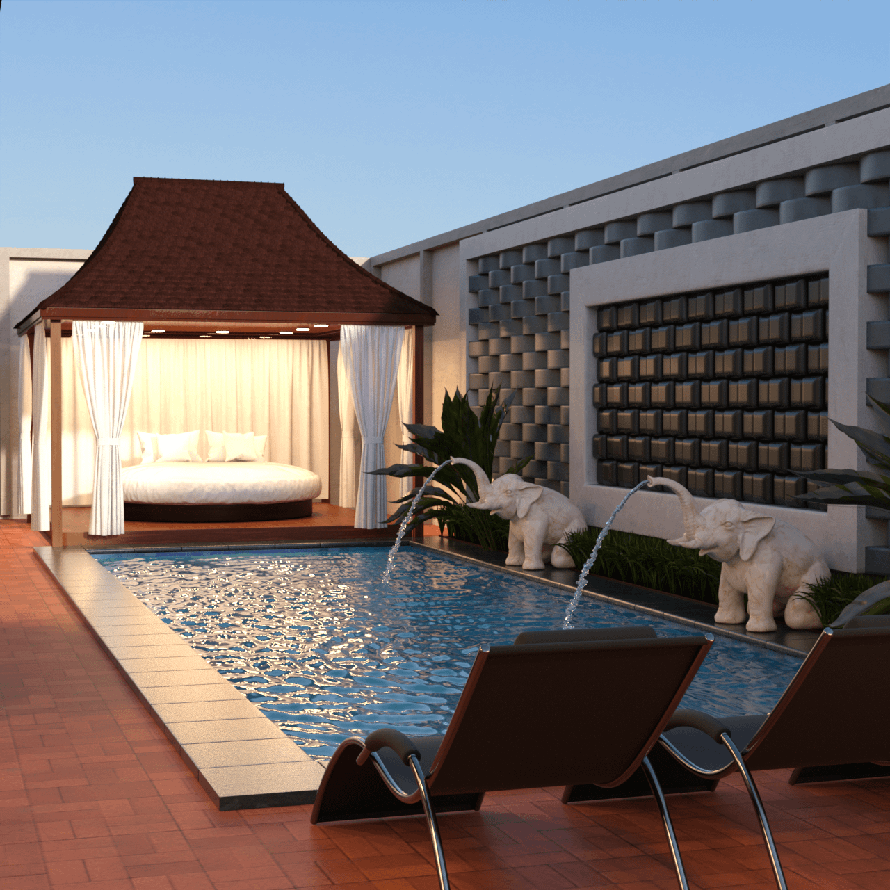 One of the top swimming pool 3d models, a villa with pool and beautiful 3d props as decoration