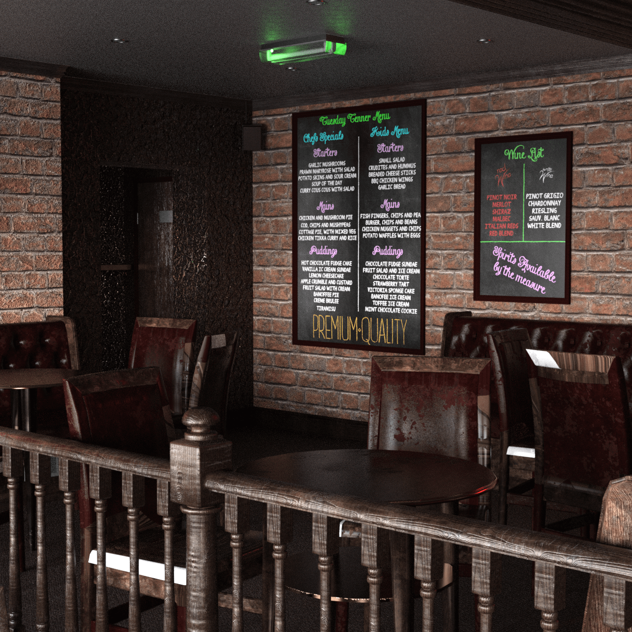 Render of the seat area of the bar