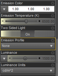 daz emission settings