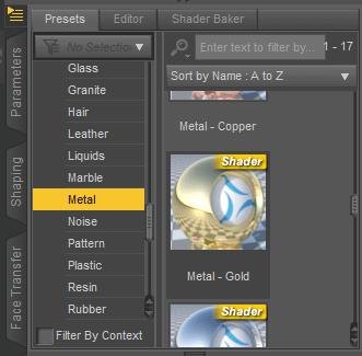 daz studio apply metal gold shader