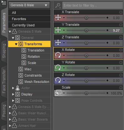 daz studio transform parameters