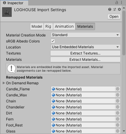 daz product opend in unity inspector