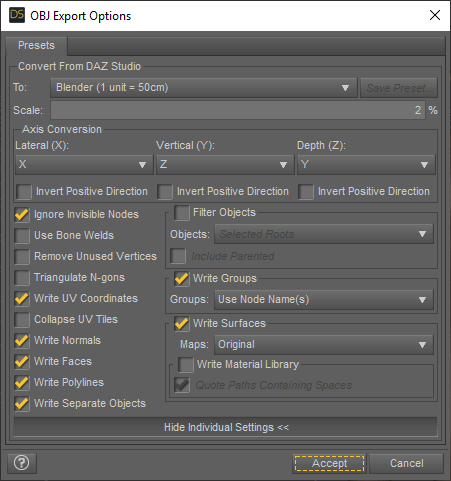 daz3d obj export options