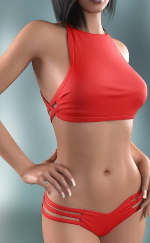 high neck daz3d bikini 3d model