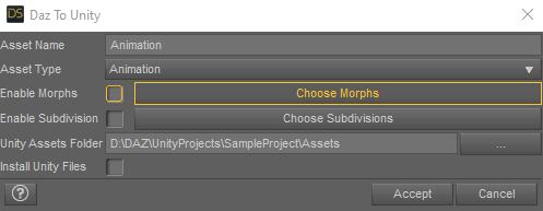 daz to unity bridge export animation