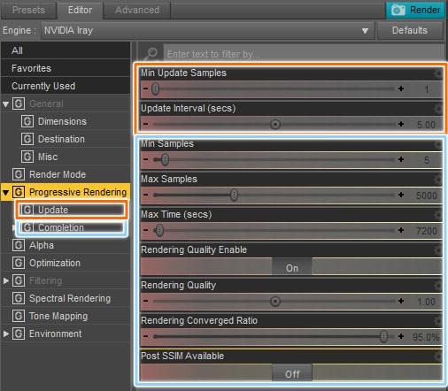 daz studio progressive rendering settings