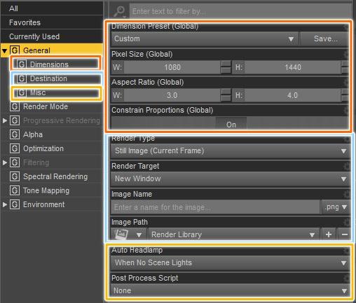 general tab inside daz3d render settings
