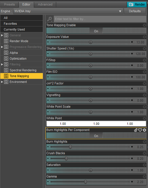 daz3d tone mapping inside the render settings