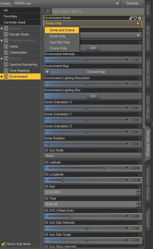 daz3d lights not working environment settings