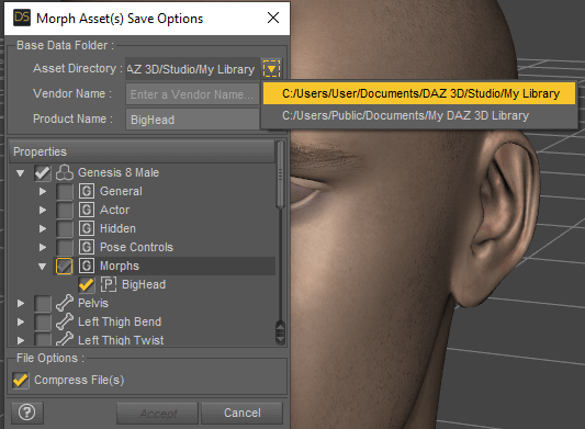 daz studio morph save options
