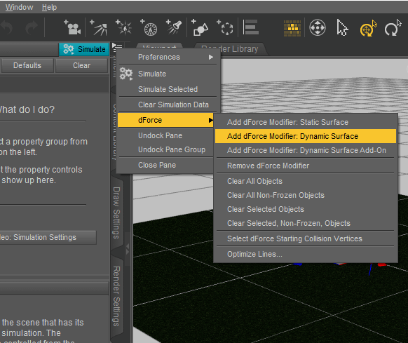 Adding a dForce modifier Dynamic Surface