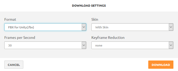 Maximo download settings for unity3d