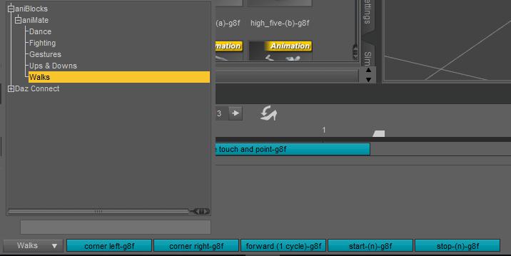 selecting a walk animation in daz studio