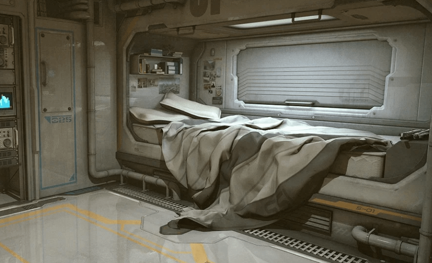 daz3d sci fi room 3d model with bed