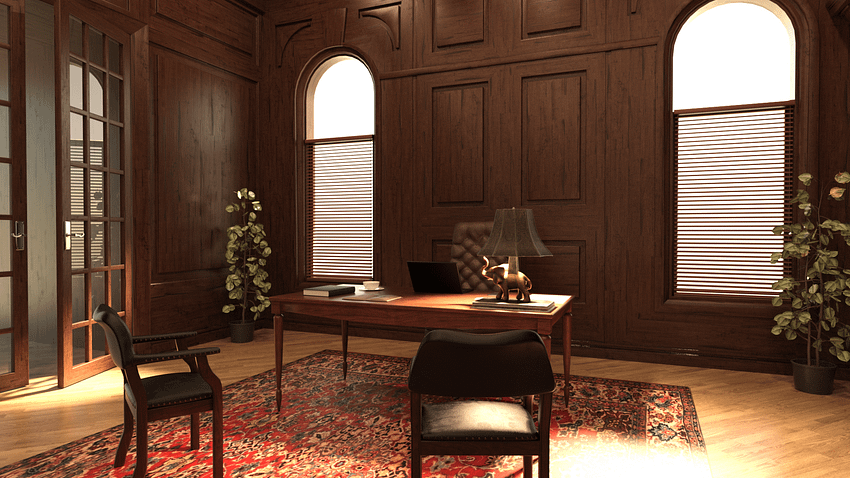 3d model of a estate agent office including table, several chairs and, exit door and background plants