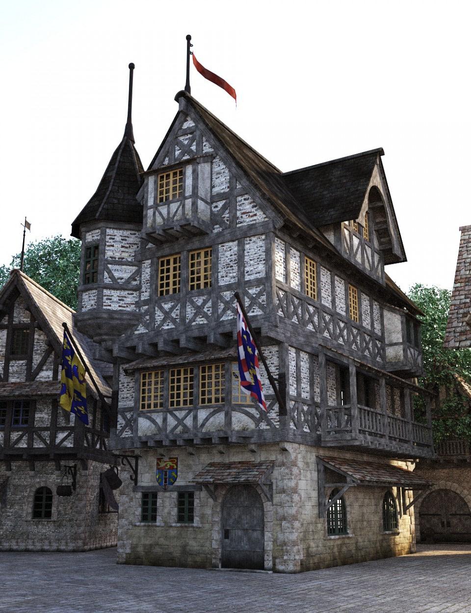 daz3d modular medieval village 3d environment