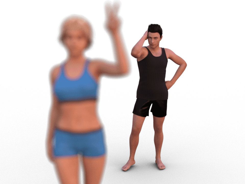 daz studio render with blurry person in front and sharp person in the background