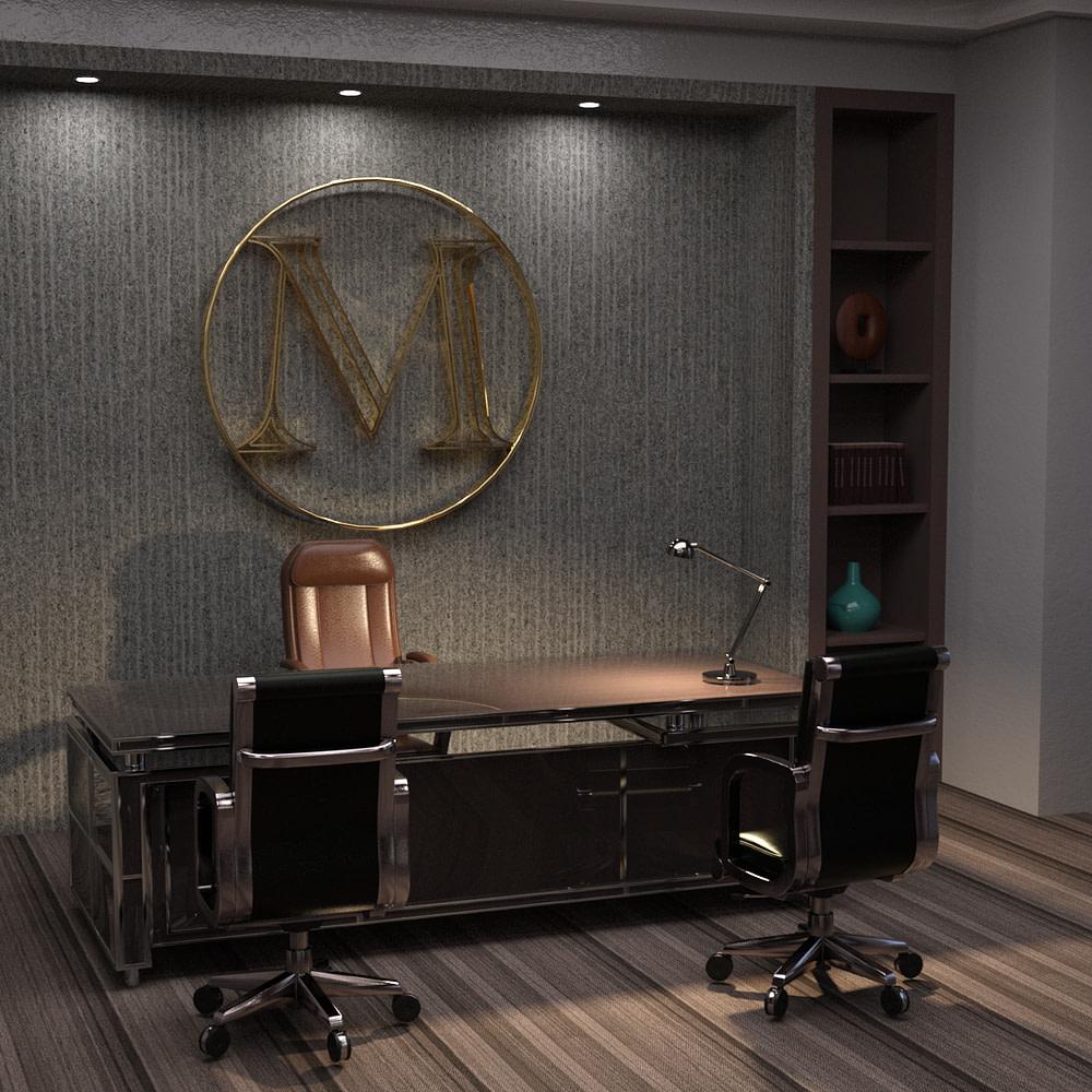 business office 3d model desk