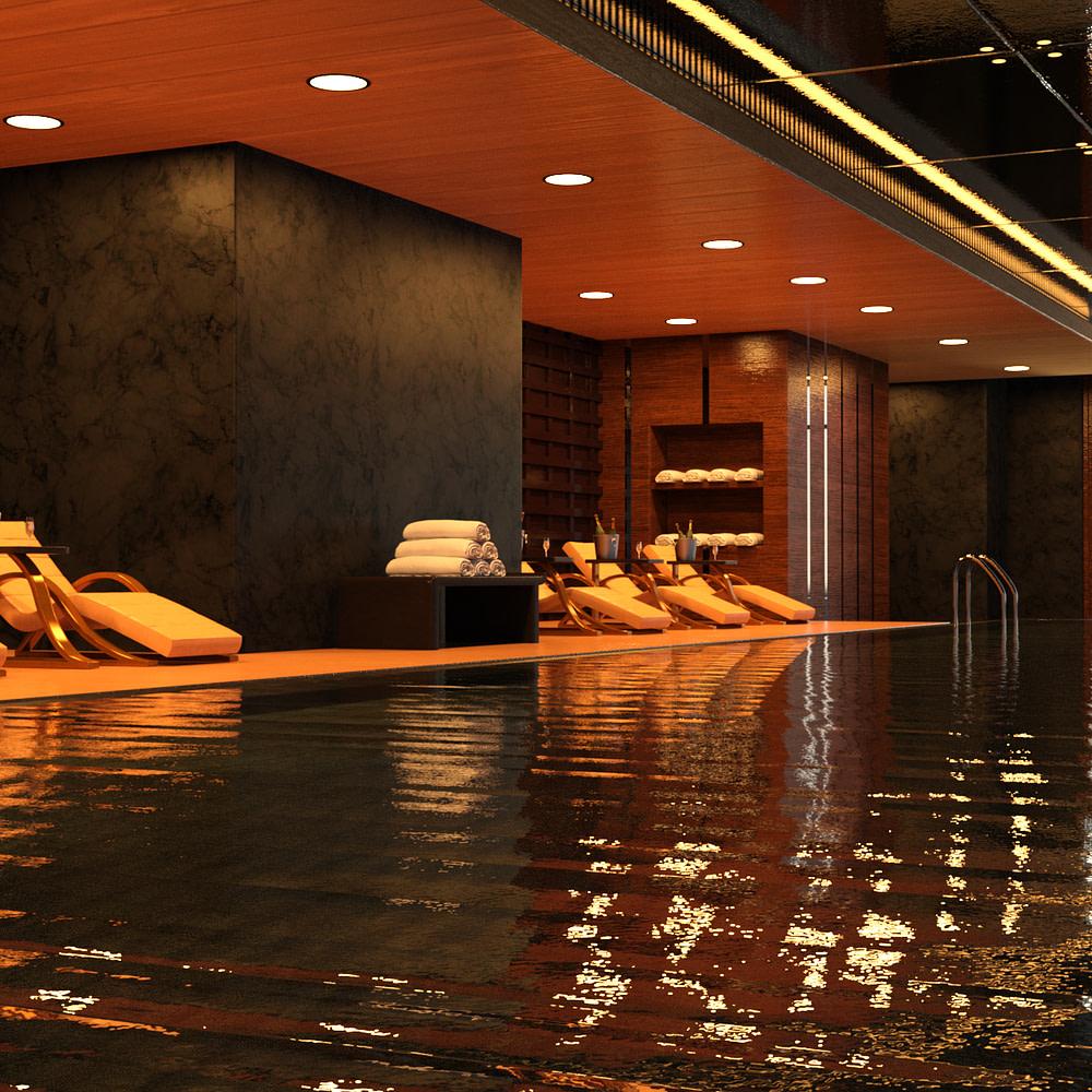 hotel indoor pool 3d model