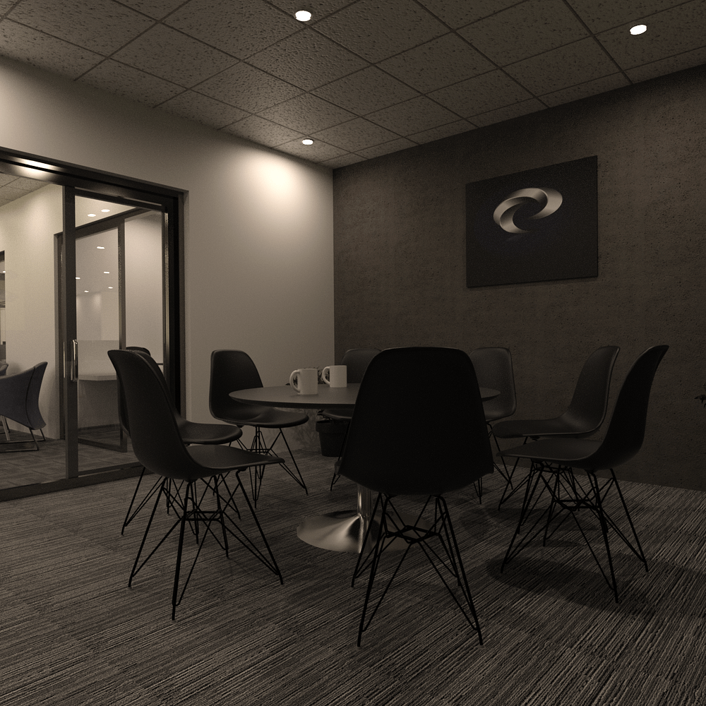 3d models of chairs and tables inside the office space