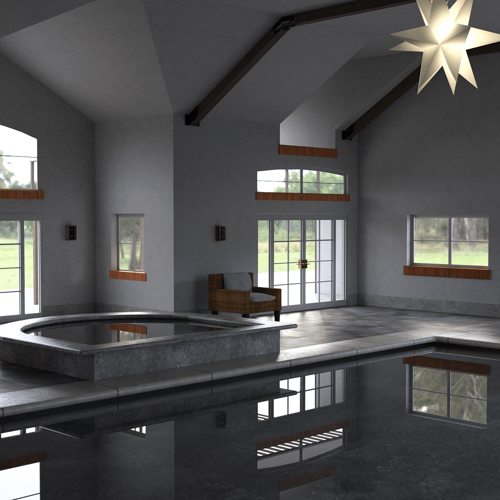 Pool house 3d model with  a swimming pool, jacuzzi and a lot of window lights