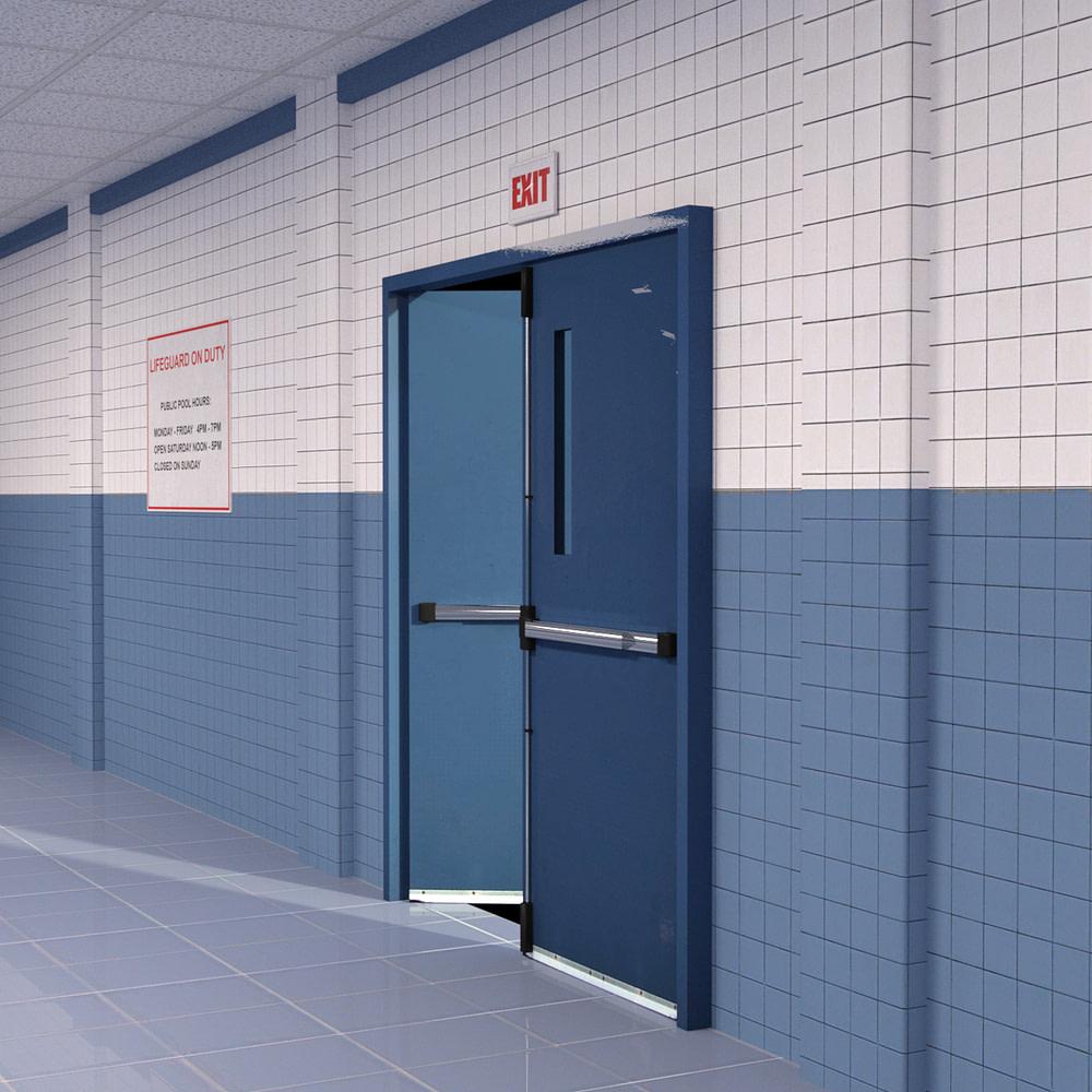 3d model of exit doors inside the pool area