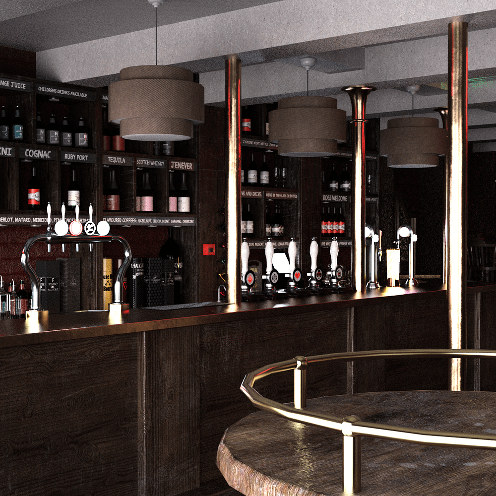Vintage bar 3d model showing a table and in the background the bar counter