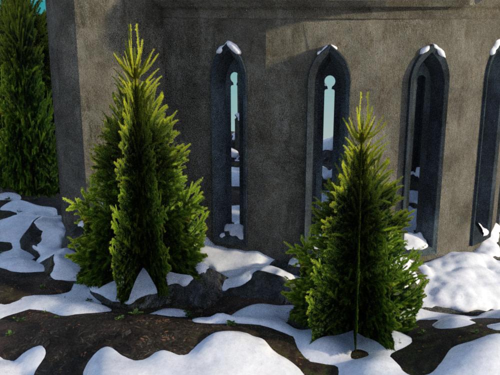 daz iray final render bush billboard snow
