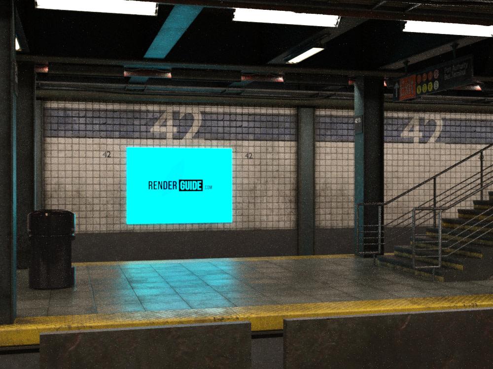 daz3d final render emission led screen subway
