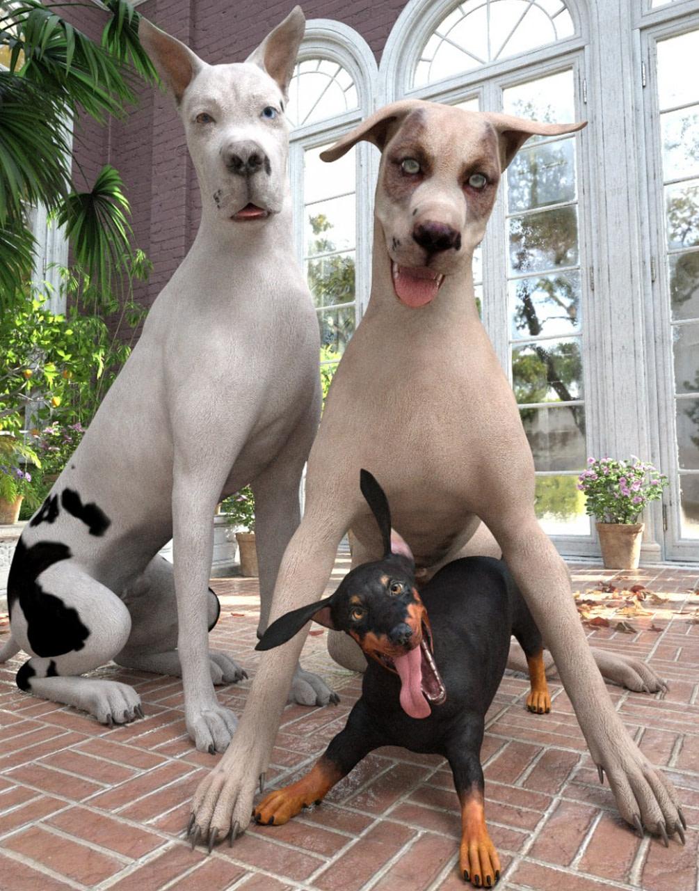 three amigos dog 3d assets