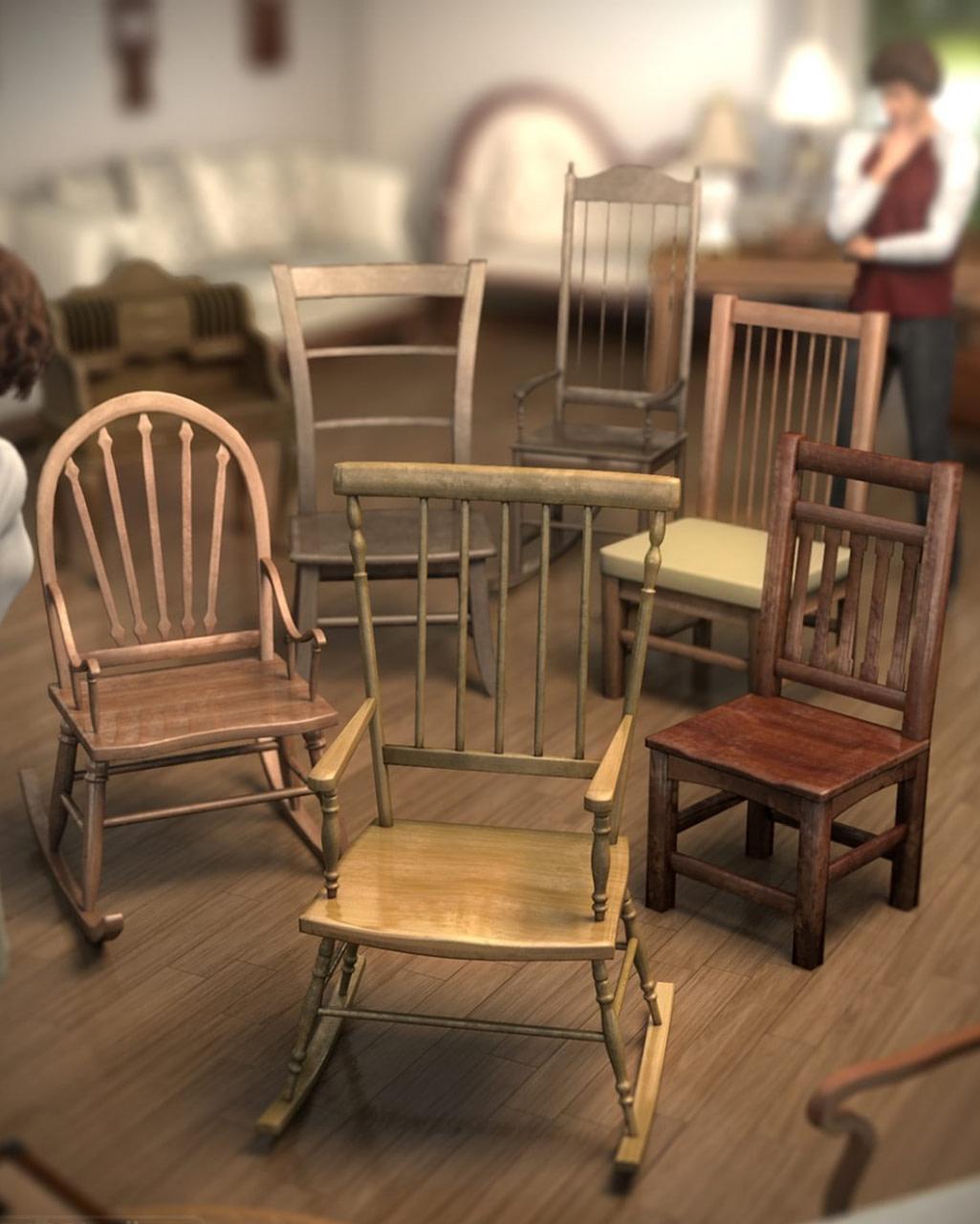 wooden chair 3d models