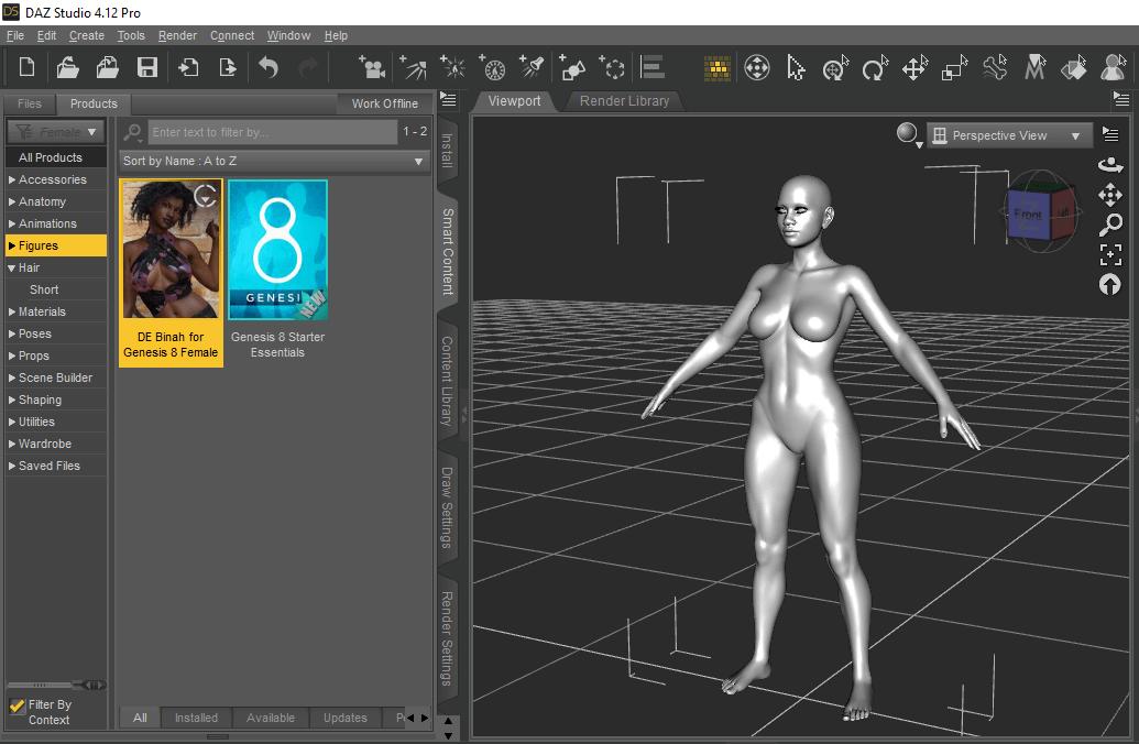 daz studio selecting a figure for export