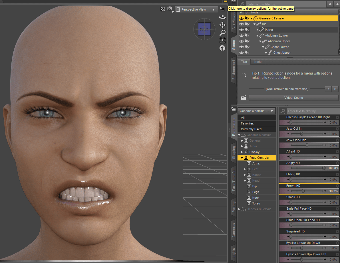 Angry face pose in daz