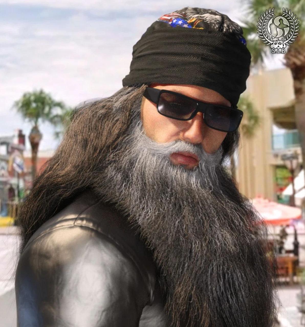 biker hair and beard 3d asset