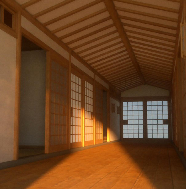 daz3d japanese bedroom and corridor