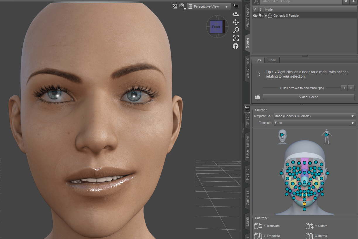 face expression created with powerpose in daz