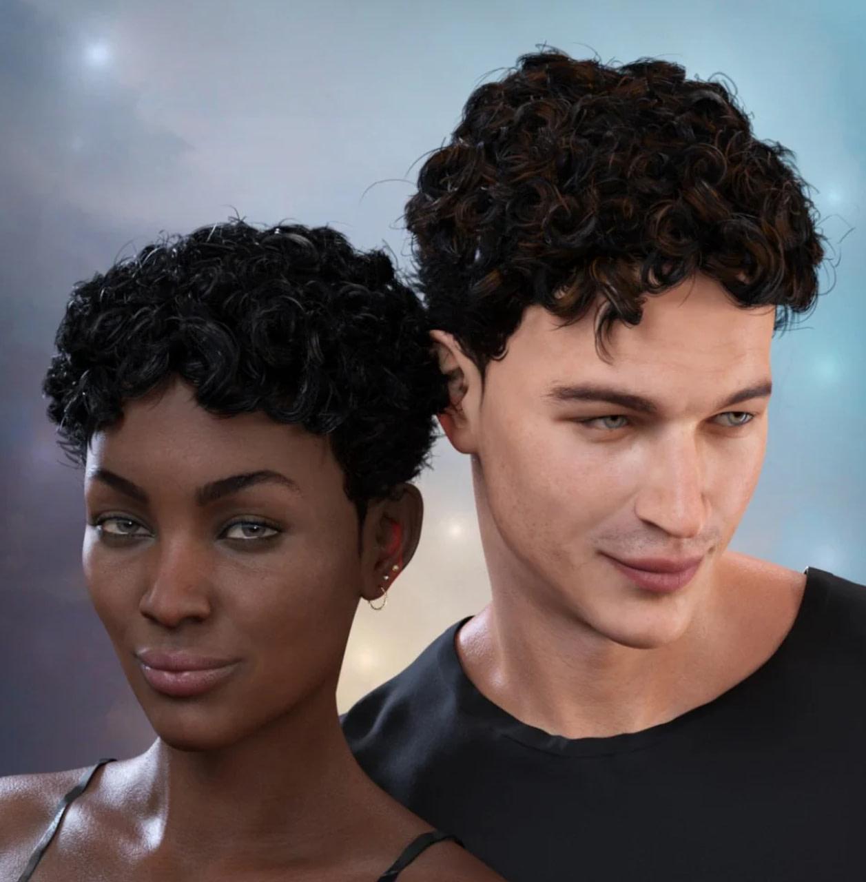 daz curly top hair