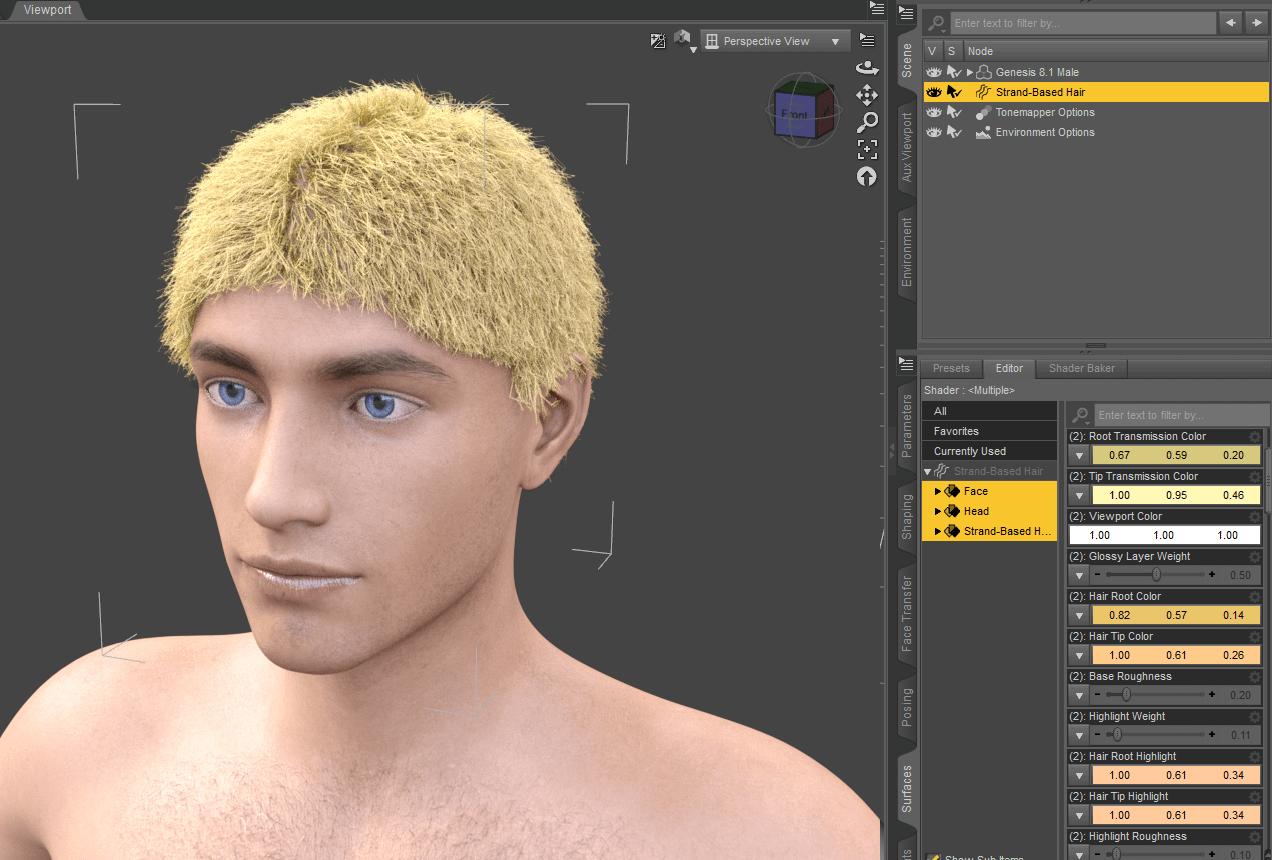 daz3d strand based hair color